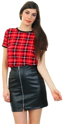 Daisy St Red Tartan Check Short Sleeve Ringer Tee
