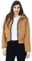 Noisy May Tan Frida Short Teddy Jacket