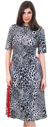 Missi Lond Grey Midi Side Tape Leopard Dress