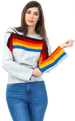 Noisy May Grey/Port Royal Rainbow Knit Sweat