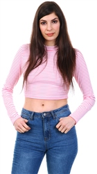 Glamorous Pink High Neck Candy Stripe Cropped Top
