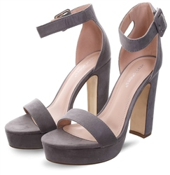 No Doubt Grey Open Toe Platform Heel