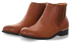 Krush Brown Slip On Round Toe Ankle Boot