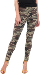 Parisian Camo Printed Fitted High Waist Skinny Jean