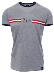 Pre London Grey/Navy/Red Stripe Ringer T-Shirt