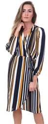 Ax Paris Navy / Mustard Stripe Waist Tie Dress