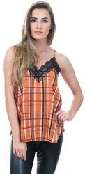 Style London Rust Check Lace Trim Cami Top