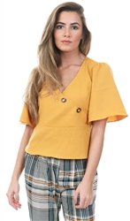 Style London Yellow Wrap Over Button Tie Top