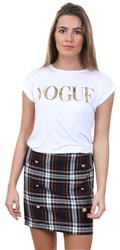 Parisian White Vogue Logo Short Sleeve T-Shirt
