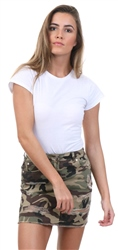 Parisian Camo Printed Ripped Mini Skirt