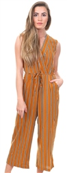 Ax Paris Mustard Stripe Culotte Jumpsuit With V Neck