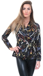 Black Chain Print Long Sleeve Top by Ax Paris