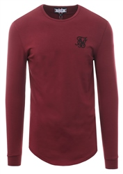 Siksilk Burgandy Long Sleeve Curved Hem Gym Tee