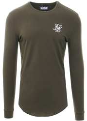 Siksilk Khaki Long Sleeve Curved Hem Gym Tee