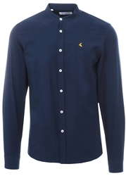 Ottomoda Navy Granda Collar Long Sleeve Shirt
