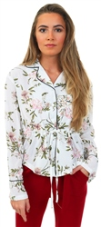 White Floral Tie Long Sleeve Blouse by Style London