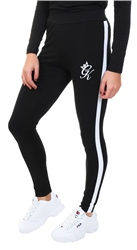 Gym King Black / White Linear Tape Leggings