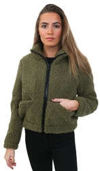 Noisy May Khaki Frida Short Teddy Jacket