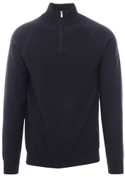 Holmes & Co Rich Navy /Jet Black Blend Marl Halton 1/4 Zip Jumper