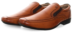 Front Tan Round Toe Slip On Shoe