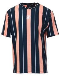 Sinners Attire Navy/Peach Bold Stripe Short Sleeve Tee