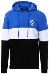 Sinners Attire Blue/White/Black Colour Block Hoodie