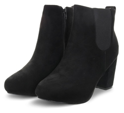 Krush Black Suedette Block Heel Chelsea Boot