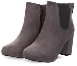 Krush Grey Round Toe Block Heeled Boot