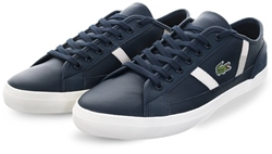Lacoste Navy/White Sideline Leather Trainer