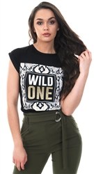 Parisian Black Snake Print Wild One Short Sleeve Longline T Shirt