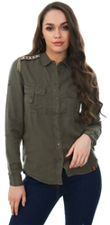 Superdry Khaki Lennox Military Long Sleeve Shirt