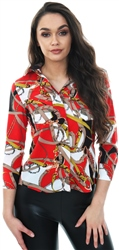 Cutie London Red Chain Print Long Sleeve Shirt