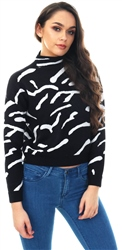 Qed Black Zebra Print High Neck Jumper