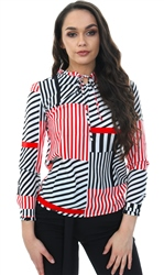 Cutie London Black Red Frill Tie Neck Long Sleeve Top