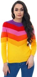 Qed Rainbow Stipe Block Knit Crew Sweater