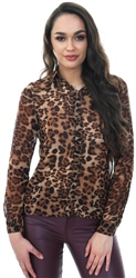 Noisy May Black / Leopard Long Sleeve Button Down Shirt