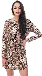Pieces Mty Gail Long Sleeve Leopard Print Dress