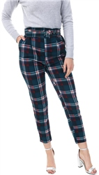 Lexie & Lola Teal Checked Belted Trousers