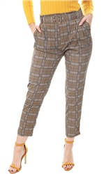 Lexie & Lola Beige Checked Buckle Belted Trousers