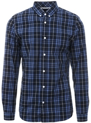Threadbare Navy / Blue Check Long Sleeve Shirt
