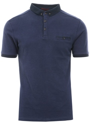 Kensington Blue Fine Stripe Button Up Polo T-Shirt