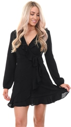 Missi Lond Black Frill Wrap Over Long Sleeve Dress