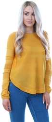 Only Mustard Caviar Knit Crew Pullover Top