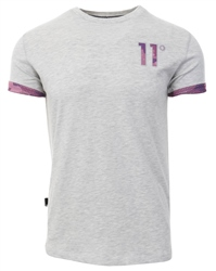 11degrees Grey Mesh Print Logo T-Shirt