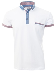 Ottomoda White Short Sleeve Button Down Polo Shirt