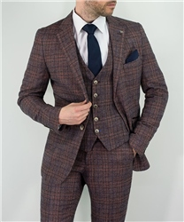 Cavani Wine Brenden 3 Piece Checked Suit