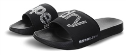 Superdry Black/Silver Diamante Pool Sliders
