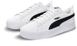 Puma White Smash V2 Leather Lace Up Trainers