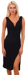 Wal/G Black Knee Length Side Spilt Midi Dress