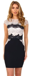 Lipsy Black Lace Sleeveless Fitted Dress